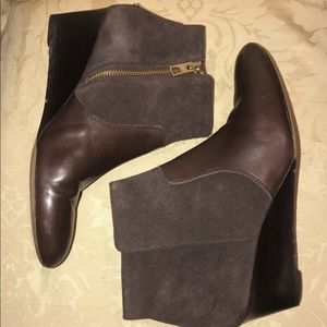 Coach Mystic Brown Leather & Suede Ankle Boots